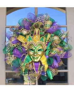 Mardi Gras Wreath with Large Venetian Style Mask