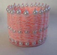 DIY Pearl and Yarn Vase