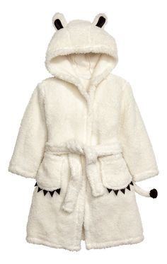 Dressing gown in soft pile with a hood with decorative sewn-on ears, long sleeves, front pockets with contrasting colour appliqués and a tie belt at Cute Sleepwear, Lingerie Sleepwear, Kids Robes, Girl Outfits, Cute Outfits, Baby Gown, Pajamas Women, Lounge Wear, Fashion Online