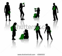 Silhouettes of teenagers. Young men and girls. - stock vector
