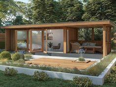 Backyard Office, Backyard House, Garden Office, Backyard Cottage, Outdoor Rooms, Outdoor Living, Insulated Garden Room, Contemporary Garden Rooms, Garden Cabins