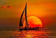 Sailboat and sunset, Boracay Island Photo Humour, Amazing Sunsets, Sail Away, Beautiful Sunrise, Beautiful World, Wonders Of The World, Beautiful Pictures, Scenery, Around The Worlds