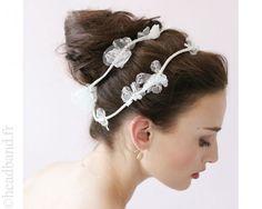 Headband double dentelle fleurs blanches
