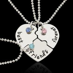 Set of Personalized Friendship Necklaces for Necklaces for friendship jewelry,friends, 3 bff necklaces, bff gift, 3 friends Bestfriend Necklaces For 2, Bff Necklaces, Best Friend Necklaces, Best Friend Jewelry, Matching Necklaces, Couple Necklaces, Bff Gifts, Best Friend Gifts, Gifts For Friends