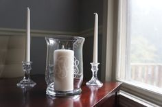 Unity Candle Holder / Hurricane Vase - Vine Monogram - Wedding $30