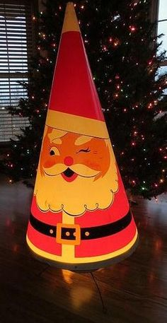 Vintage 1950's Lighted Space Age Santa Claus Rocket 42""