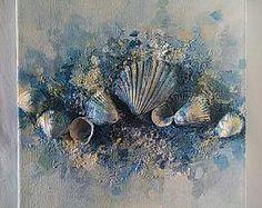 Zeitgenössische Kunst, Sea Shell (8 x 8), Home Dekor, Leinwand Kunst, Original Strand Wandkunst, Mixed-Media-Kunst, Muschel Dekor, Strand, Stein, Liebe...