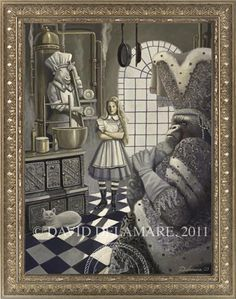 """""""Alice in the Kitchen"""" (Alice in Wonderland painting by David Delamare)    Information and products available at www.daviddelamare.com/alice.html      Artwork © David Delamare.   Product design © Wendy Ice.  Alteration of artwork strictly prohibited by law.  Artist authorizes """"repin"""" of this image only if this caption is unchanged.  Please use comments box (not caption) for any personal notes."""