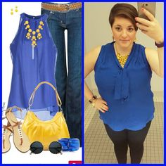 #ChubbyChique 7-24-2015 #ootd #julypinneditspinnedit Denim, blue sleeveless blouse and yellow accessories inspiration