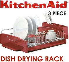 kitchenaid red kitchen bench dish drying rack cutlery drainer caddy utensil new dishes. Black Bedroom Furniture Sets. Home Design Ideas