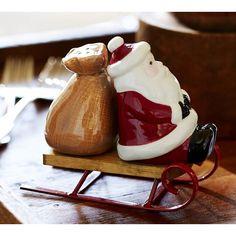 Pottery Barn Santa Sled Salt & Pepper Shaker Set featuring polyvore, home, kitchen & dining, serveware, salt/pepper shaker, salt shakers and pottery barn