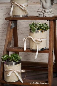 Make flower pots out of paint cans