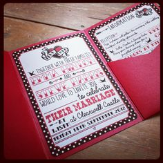 Sneaky preview of the new #rockabilly wedding invitation by Lovely Jubbly. Gorgeous is an iridescent red pocketfold, with black and white polkadots and tattoo lettering details. £3.50