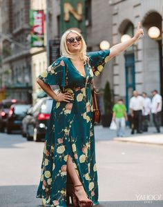 70s goddess in a long boho dress. Dress: ASOS CURVE Maxi Dress In Blossom Floral Print - $117, us.asos.com Sunglasses: 597865 ASOS Oversized Sunglasses In Wood Effect - $22, us.asos.com Shoes: ASOS PENDULUM 70s Platform, us.asos.com