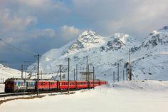 Bernina red train, St. Moritz, Switzerland