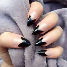 Doobys Nails - French Manicure Tips Black 24 Glue on Hand Painted Stiletto Nails