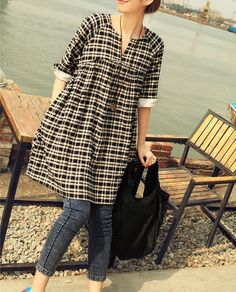Black and white grid linen dress short sleeve cotton blouse linen shirt casual loose blouse cotton shirt summer Maternity dress linen top on Etsy, $45.00