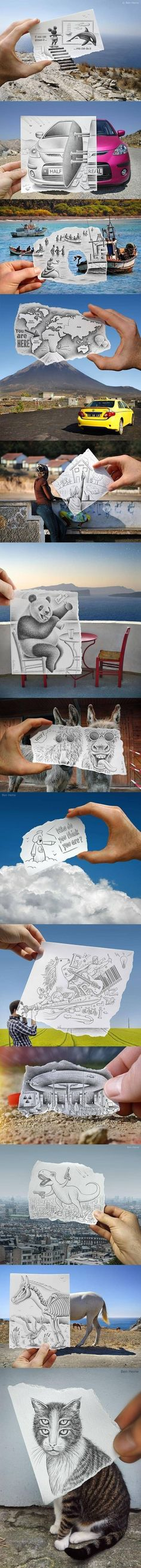 Cool drawings... Do something similar - maybe cut a chunk out of a photograph (laminate) then have them fill the space...