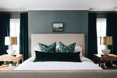 Fair Oaks — jean stoffer design Dark and moody bedroom, velvet lumbar pillow, velvet curtains, burl nightstands, linen slipcovered bed. Home Bedroom, Bedroom Decor, Bedroom Inspo, Bedroom Inspiration, Bedroom Ideas, Master Bedrooms, Beige Headboard, Neutral, Bed Linen Design