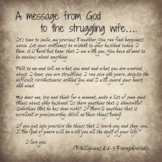 A message of hope to a struggling wife Phillipians 4:4-9 Paraphased Prayers For My Husband, To My Husband, Husband Prayer, My Prayer, Prayer Room, Wife Prayer, Prayer Warrior, Prayer Board, Prayer For Troubled Marriage