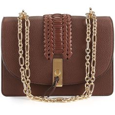 Altuzarra Ghianda Braided Leather Chain Shoulder Bag (€1.770) ❤ liked on Polyvore featuring bags, handbags, shoulder bags, brown, handbags shoulder bags, pebbled leather handbags, man bag, chain-strap handbags and brown hand bags