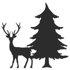 Silhouette Design Store: Single Pine Tree With Deer Silhouette Design Store - View Design s Silhouette Design, Christmas Crafts, Christmas Decorations, Christmas Ornaments, Kiefer Silhouette, Pine Tree Silhouette, Deer Design, Silhouette Portrait, Christmas Printables