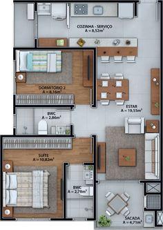 Sims House Plans, New House Plans, Modern House Plans, Small House Plans, House Floor Plans, Apartment Floor Plans, Bedroom Floor Plans, Narrow House, Bungalow House Design