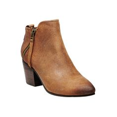 Women's Steve Madden Julius Bootie ($65) ❤ liked on Polyvore featuring shoes, boots, ankle booties, casual, leather boots, tan, chunky-heel ankle boots, tan booties, ankle boots and chunky heel ankle boots