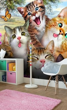 cat selfie bedroom wallpapers mural murals cats childrens making cool feature wallsauce themed bedrooms say put animal fun crafts decorations
