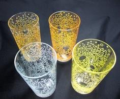 GLASSES / MID CENTURY / Set of 4 Tumblers / Bubbles Motif / Vintage. $28.00, via Etsy.