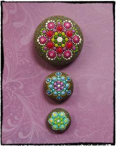 Jewel Drop Mandala Stones Splendid Spring colours by ElspethMcLean