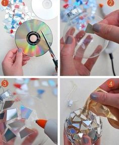 DIY ornaments - these will really reflect the tree lights beautifully! - could just as easily be glued onto small flat rectangles of clear plastic, or icicle-thin strips.