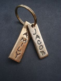 Hand crafted bronze name keyring.