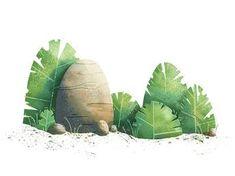 Rocks and Bushes by Nick Staab on Dribbble Plant Illustration, Botanical Illustration, Digital Illustration, Environment Concept, Environment Design, Photoshop, Cartoon Background, Posca, Visual Development