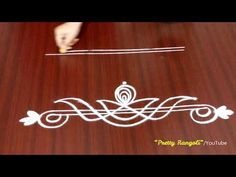 2 different easy daily border rangoli using Lines//geethala muggulu designs//border kolam Rangoli Side Designs, Rangoli Designs Simple Diwali, Simple Rangoli Border Designs, Rangoli Simple, Rangoli Designs Latest, Free Hand Rangoli Design, Rangoli Borders, Small Rangoli Design, Rangoli Designs With Dots