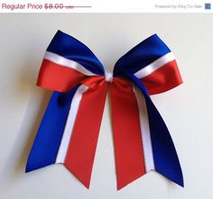 10 Off Sale Blue White & Red Cheer Bow 6x6 C121 by MsLadysBoutique, $7.20