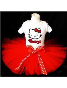 Hello Kitty Red Tutu Birthday Outfit Costume by PrettyAsAPrincess2, $27.99