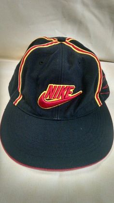 Nike Air Hat Cap Black Logo Embroidered Stripes Wool Blend #Nike #BaseballCap