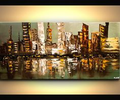 Abstract art poster on photographic paper. Title: City Lights. Size: 48x24. Type: Poster on acid-free high-quality photographic paper. Shipping: