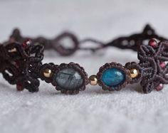 Macrame bracelet, macrame jewelry, macrame, micro macrame, apatite bracelet, tourmaline jewelry, healing jewelry, bohemian jewelry
