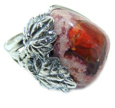 $79.95 Fabulous+AAA++Mexican+Fire+Opal++Sterling+Silver++Ring+s.++7+1/2 at…