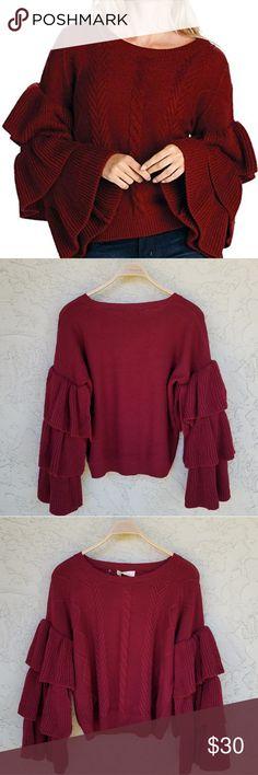 c31f7d3f5ea2b2 Elan Burgundy Ruffle Tiered Sleeve Sweater Elan three tier ruffle sleeve  acrylic sweater had a round