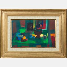 LOT 3 MARCEL MOULY Marcel Mouly , (1918-2008) - La Table Verte, Medium: Oil on canvas, Dimensions: H: 8 3/4 W: 13 3/4 Est: $800-1,200 Titled, signed and dated on verso. With Certificate of Authenticity. Provenance William S. Fitts Trust UAD. Signature Signed and dated '77 lower right.