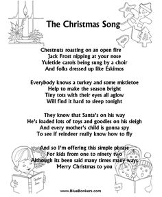 Printable The Christmas Song - Christmas Carol Lyrics, Printable christmas Song sheets, free christmas lyrics sheets, printable christmas song words
