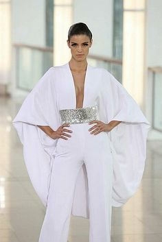 Pin by Anna BuFai on Abaya Designs in 2019 Wedding Trouser Suits, Wedding Suits, Modest Fashion, Girl Fashion, Fashion Dresses, Fashion Design, Abaya Designs, Elegant Outfit, White Fashion