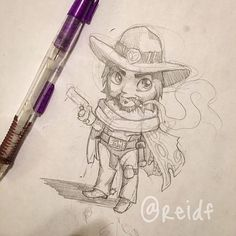 HEYYYYOOOOOO decided to doodle my favorite Hero, McCree! (Even though I'm awful at playing him) I want to do some rainbow Overwatch art but have no idea who to do who is your fav?❤️ Also! I will be down in Austin this weekend for #RTX / #SGC ... Is anyone gonna be there I will post more about it on @reid_noodles  #Overwatch #Mccree #ITSHIGHNOON