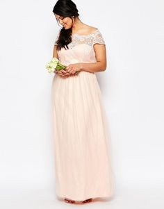 Image 4 ofChi Chi London Plus Maxi Dress With Premium Lace And Tulle Skirt
