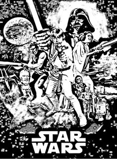 Free coloring page coloring-movie-star-wars-episode-4. A coloring page made with the Star Wars episode 4 movie poster