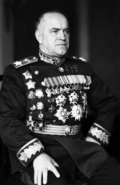 Victory Marshal, 1945. Portrait of great military leader and four-time Hero of the Soviet Union award winner Marshal Georgii Zhukov. Zhukov signs the Potsdam Declaration. WW2, Potsdam, Germany.