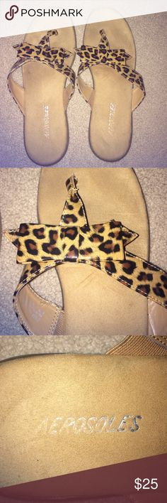 Aerosols cheetah bow flip flops These Aerosols cheetah now flip flops are practically brand new!  They have only been worn a few times and are in great condition. The size is 8 1/2 ;) AEROSOLES Shoes Sandals